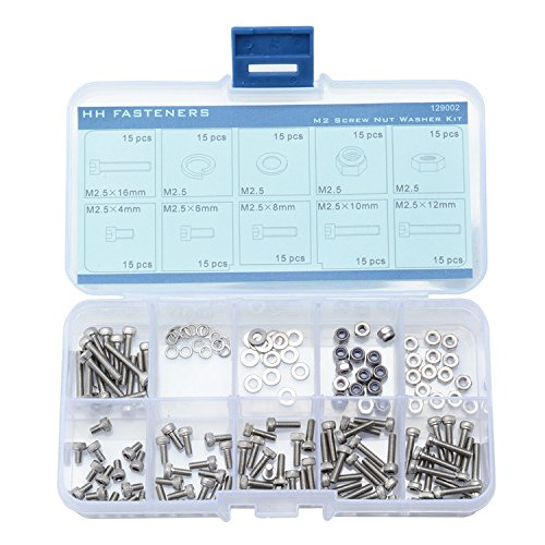 M2,5 Innensechskant Head Cap Schraube flach Unterlegscheiben Lock Unterlegscheiben Sechskantmuttern Lock Muttern QTY 150 teilig Sortiment Set, 304 Edelstahl (Screw Lock Set)