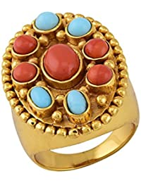 Tribe Amrapali Gold Plated Ring for Women (Coral)(FCR18-035)