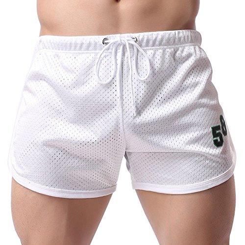 Aiserkly Sommer Herren Shorts Fitness Bodybuilding Mode lässig Kurze Hosen Weiß XL