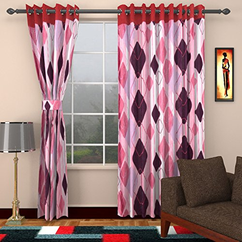 Ajay Furnishings 3 Piece Polyester Modern Window Curtain - 5 ft, Pink