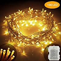XIYUNTE 100 LED String Lights Battery Powered - 10M/33FT 8 Modes Warm White LED Fairy Lights Waterproof Christmas String Lights for Indoor/Outdoor