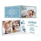 Geburtskarten (30 Stück) - Schnuller - Geburt Babykarten Mädchen Jungen Foto Karten in Blau