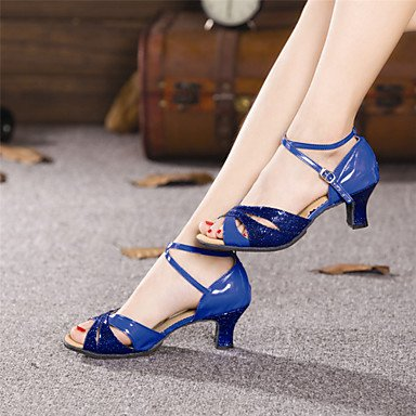 Silence @ pour femme Chaussures de danse Latin Cuir verni/paillettes Talon cubain extérieur Plus de couleurs doré