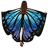 WODDU Déguisement Cape Papillon Paon Fête Soirée Vêtement Pèlerine Multicolore (Type 1-Bleu)