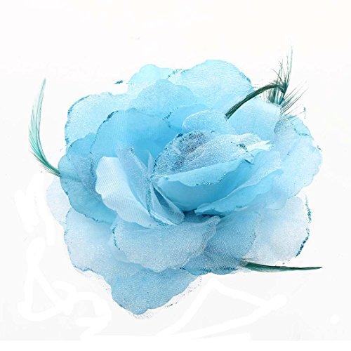 REFURBISHHOUSE Feder Organza Rosen Blau Haarband Haargummi Haarblume - Rose Haargummi