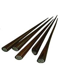 Haarnadel aus Holz (Sonor-Wood) mit Edelstahl-Intarsie, Haarschmuck, Anzahl:1 Stück