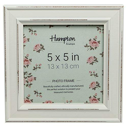 Hampton Frames PAL301955W Fotorahmen, Holz, quadratisch, 13 x 13 cm, Weiß