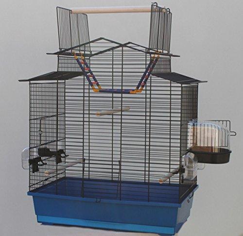 Heimtiercenter Blauer Vogelkäfig IZA III Cabrio Wellensittichkäfig,Exotenkäfig,Vogelkäfig Vogelbauer Wellensittich Kanarien Voliere Vogelhaus Käfig incl. Badehaus und Trinkröhrchen …