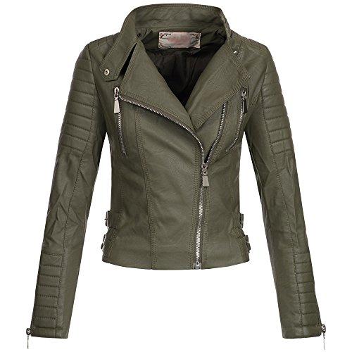AZ Damen Kunst-Lederjacke Übergangsjacke Jacke Bikerjacke gesteppt 17069 S-XL,...
