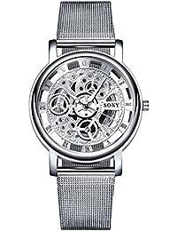 oumosi macho de la pulsera de malla de los hombres reloj analógico de cuarzo reloj de pulsera