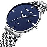 Herren Edelstahl Mesh Armband Uhren Wasserdicht Datum Kalender Einfach Design Analog Quarz Armbanduhr Gents Geschäft Beiläufig Luxus Kleid Schwarz Uhr mit Schwarz Zifferblat (Blau)