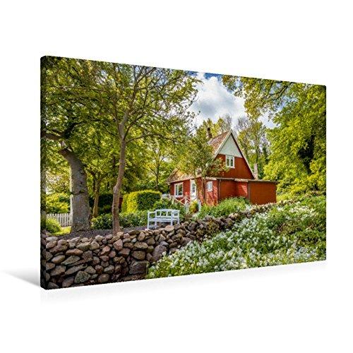 Preisvergleich Produktbild Leinwand Ferienhaus-Idylle auf Bornholm 90x60cm, Special-Edition Wandbild, Bild auf Keilrahmen, Fertigbild auf hochwertigem Textil, Leinwanddruck, kein Poster