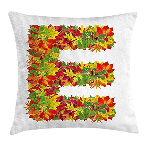 Letter E Throw Pillow Cushion Cover, Chestnut Maple Leaves Natural Oak Petals Vibrant Colors E Symbol Print, Decorative Square Accent Pillow Case, 18 X 18 inches, Vermilion Yellow Green -