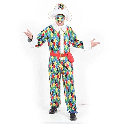 Vestito costume maschera di carnevale adulti - arlecchino - taglia xl - 52/54 uomo