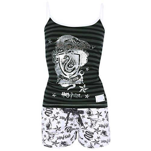 Pijama blanco verde Slytherin HARRY POTTER
