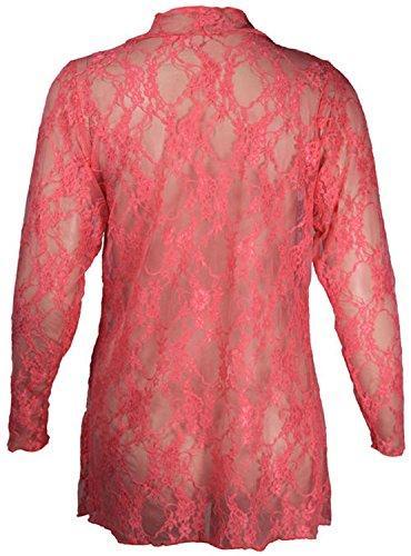 Femmes Plus Size cascade de dentelle Cardigan Boyfriend dentelle florale Cardigan Corail
