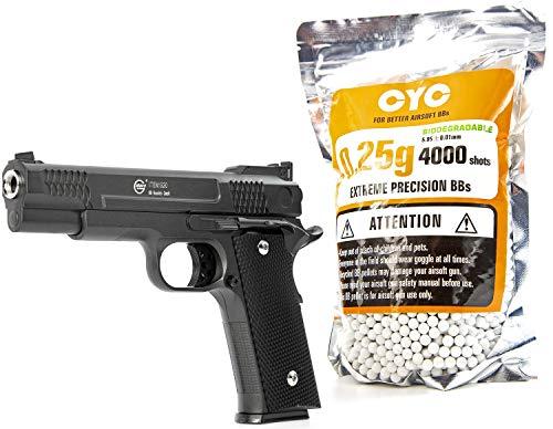 Nerd Clear Softair Pistole Vollmetall 700g 1 zu 1 Nachbau | inkl. 4000 Bio-Munition 0,25g