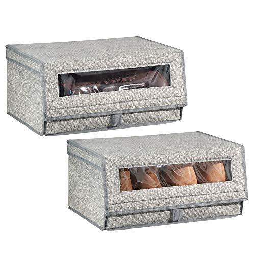 MDesign Juego de 2 cajas para zapatos de fibra sintética grande - Cajas apilables con ventana, cierre...