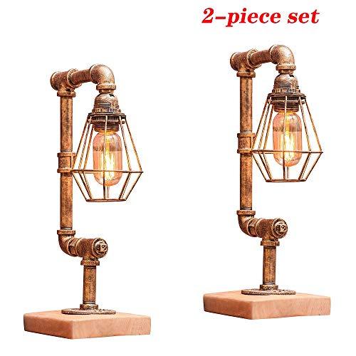 Kreative Dekor Tischlampe Industrie Amerikanischen Stil Schreibtisch Lichter Retro Kaffee Bar Dekorative Beleuchtung Wasserleitungen Eisen Dimmbare Lampe Plug-in Licht (UnitCount : 2-piece set) (Eisen-kaffee Dekor)