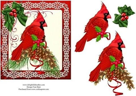Rouge Cardinal oiseau avec pommes de pin et de houx Par Frances Dent