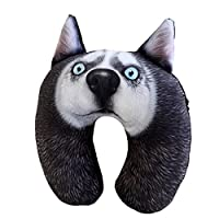 unlockgift Funny 3D Husky Dog Style Neck Support Pillow For Travel and Sleeping (PP01)