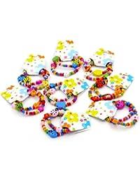 CKB Ltd ® 24x Mixed Großhandel Kinder Holz Elastische Armbänder Kids Childrens Wood Elastic Bracelets Ladybug Bead Elastic Bracelets Mixed Colourful 18cm