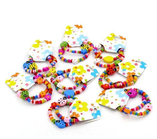 Großhandel Kinder Holz Elastische Armbänder Kids Childrens Wood Elastic Bracelets Ladybug Bead Elastic Bracelets Mixed Colourful 18cm ()