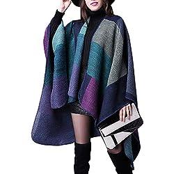 Aivtalk - Abrigo de Poncho para Mujer Invierno Otoño Primavera Cárdigan de Punto Capa Caliente Suave Moderna Manta Chal 135 x 155 CM - Azul Morado
