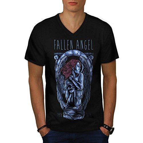 Gefallen Engel Kunst Mode Herren M V-Ausschnitt T-shirt | (Engel Gefallenen Der Bilder Kostüme)