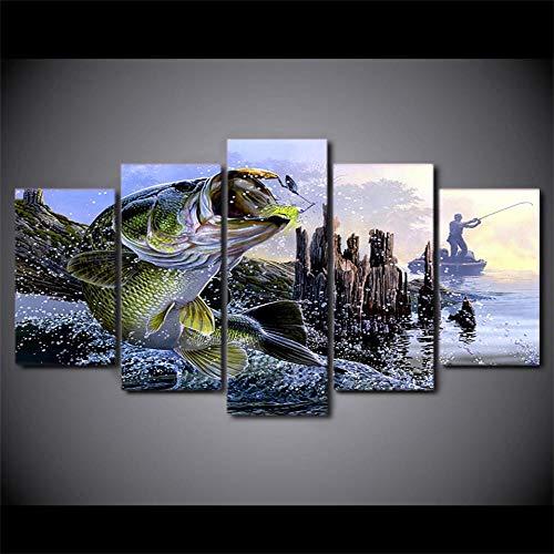 Dekorative Malerei Aufeinanderfolgende Hintergrund Wanddekoration Leinwand Gemälde Gedruckt 5 Stücke Forellenbarsch Angeln Wandkunst Leinwandbilder Für Wohnzimmer Schlafzimmer Wohnkultur