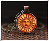 Sonnenhalskette, Mittelalter Sonnenanhänger, antiker Stil, Sonne, Renaissance Sonne, Astrologie Anhänger