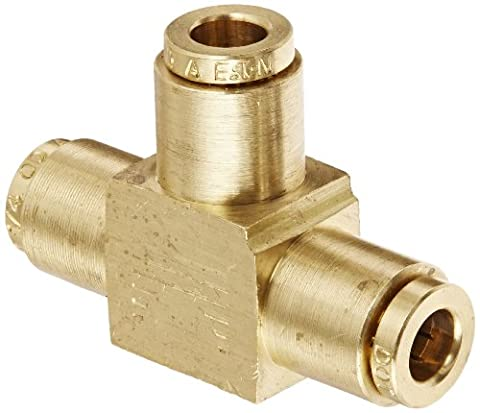 Eaton Weatherhead 1864X4 Brass CA360 D.O.T. Air Brake Tube Fitting, Union Tee, 1/4 Tube OD by Weatherhead