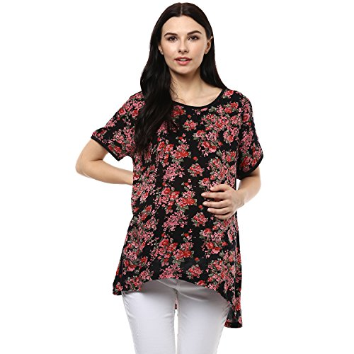 Wobbly Walk Women's Round Neck, Half Sleeves, Floral print Maternity T-Shirt, Black
