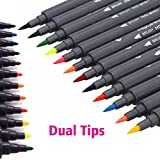 Watercolour Brush Pens Set,SAYEEC 12 Colours Dual Tip Brush Pens with Fineliner Tip Art Marker Soft Flexible Tip Durable Create Watercolor Effect - Best for Adult coloring Books/Manga/Comic/Calligraphy