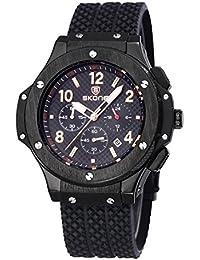 Nuevo reloj de los hombres de doble movimiento de cuarzo de Japón hora Dual Display Relojes de pulsera esqueleto Dial vida impermeable al por mayor # 506302