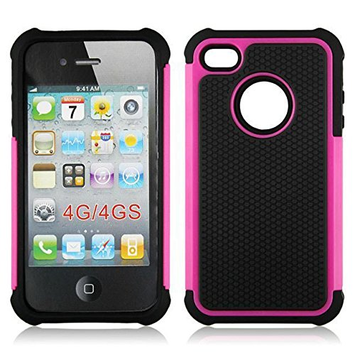 casefirst iPhone 4 4S Back Shell Case, Ultra Slim Fit Girls Back Shell Full Protective Cover for iPhone 4 4S Rosy (Carry 4s Case Für Iphone)