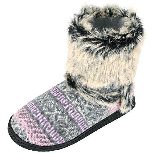 Botas con Pelo de y Mujer Cómodas Estar Sibba Zapatos para por Casa Interior Templadas f0SxnT8
