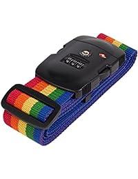 Gearmax® TSA Correa de Seguridad para equipaje con cierre, TSA aceptado, 3 Dígitos(Negro e Rojo)