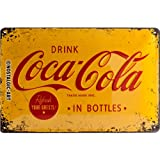 Nostalgic-Art 22228 Coca-Cola - Logo Yellow   Retro Blechschild   Vintage-Schild   Wand-Dekoration   Metall   20x30 cm