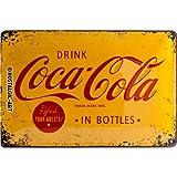 Nostalgic-Art 22228 Plaque en tôle Jaune Motif Logo Coca-Cola 20x30cm