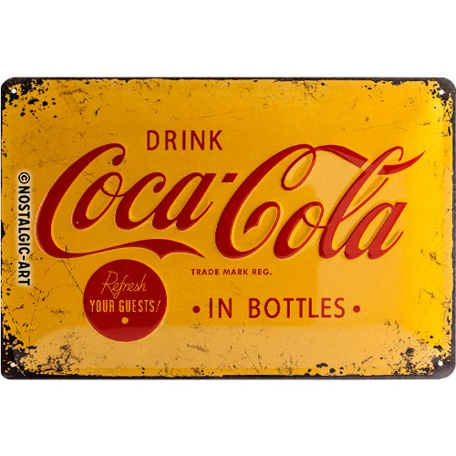 Nostalgic-Art Coca Cola Logo Yellow Placa Decorativa