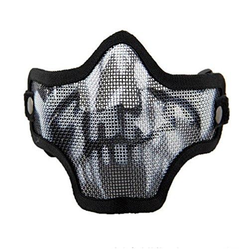 Máscara de Airsoft QMFIVE Malla de Acero Táctico Mascaras Mascara de Media Cara el Engranaje Protector para Airsoft Paintball(Cráneo)