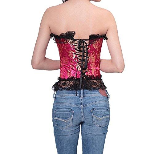 Donna Sexy Corsetto Nuziale Bustino Raso Lacci Burlesque Taglie Forti Lingerie con g-string Red