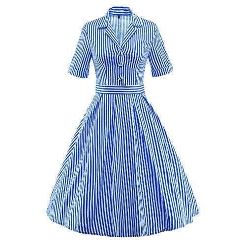 LUOUSE 'Wendy' Vintage 1950 Candy Stripe Bubikragen Hemd Kleid,Blue,XXXL