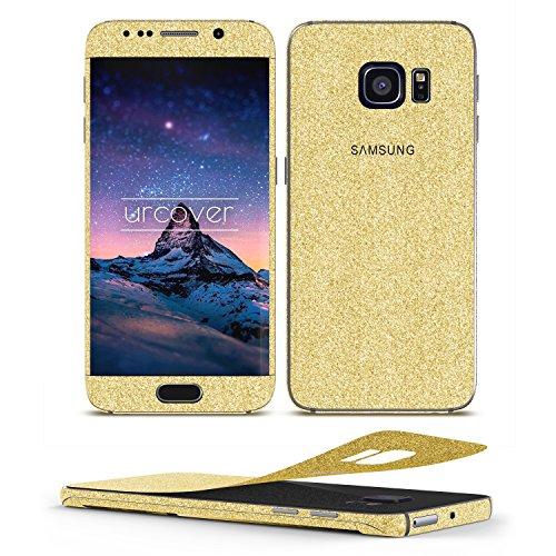 Urcover® Glitzer-Folie zum Aufkleben | Samsung Galaxy S6 Edge | Folie in Gold | Zubehör Glitzerhülle Handyskin Diamond Funkeln Schutzfolie Handy-schutz Luxus Bling Glamourös