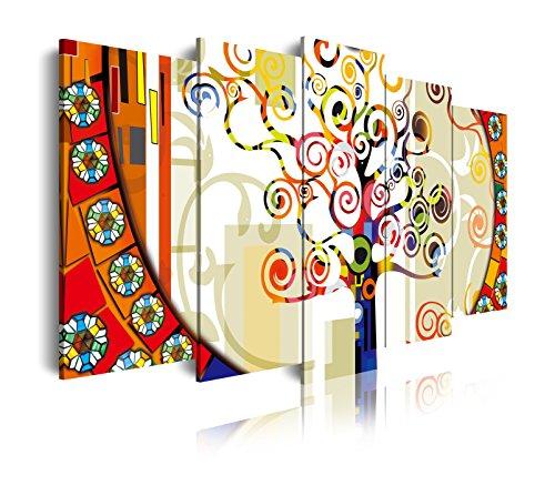 DEKOARTE 82 - Cuadro Moderno 5 Piezas arbol de la Vida Estilo Gustav Klimt, 150x3x80cm