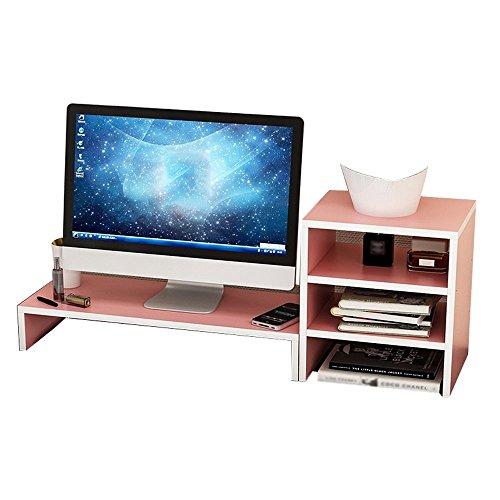 DFFS Regal Holzplatte LCD-Computerbildschirm Hochregal Grundplatte Tisch Tastatur Ablagefach, Einschichtig + 3-schichtig, Rosa (Farbe: Rosa) -