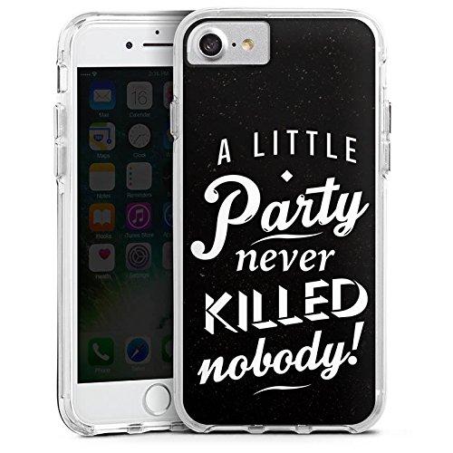 Apple iPhone 7 Plus Bumper Hülle Bumper Case Glitzer Hülle Party Phrases Sayings Bumper Case transparent