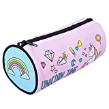 Pencil Case Unicorn, Astuccio Unicorno Grande Canvas con Cerniera, Cosmetico Bag Zip 19x8x8cm per Donna