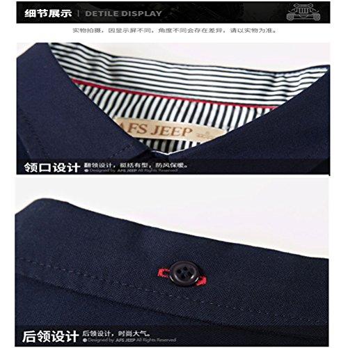 WS668 Herren 100% Baumwolle Casual Shirt Kariert Tops Gute Qualität Buttons Check Lange Ärmel Leicht Militär Hemd Mens Long Sleeve Shirt Denim Blau-1818